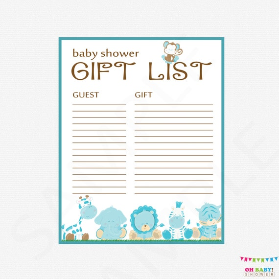 Priceless image regarding baby shower gift list printable