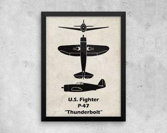P-47 Thunderbolt Print, Vintage Airplane, WWII Airplanes, Aviation Print, Airplane Poster, Boys Room Decor