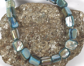 """1 Strand 16"""",  Blue Shell Nugget Beads, Genuine Mother of Pearl, Jewelry Making Supplies, Sea Shell, DIY Jewelry"""