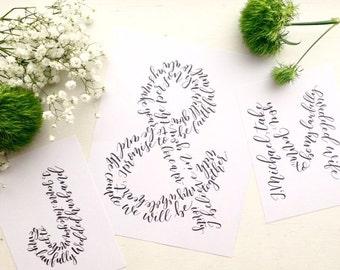 Hand Lettered Ampersand Print | Custom Initial Art | Wedding Print | Anniversary Gift | Engagement Print