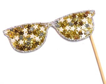 Photo Booth Props - Deluxe Gold & Silver Star Glasses  Photo Booth Props