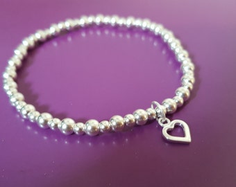925 Sterling Silver 4mm and 3mm bead bracelet with 925 open heart charm