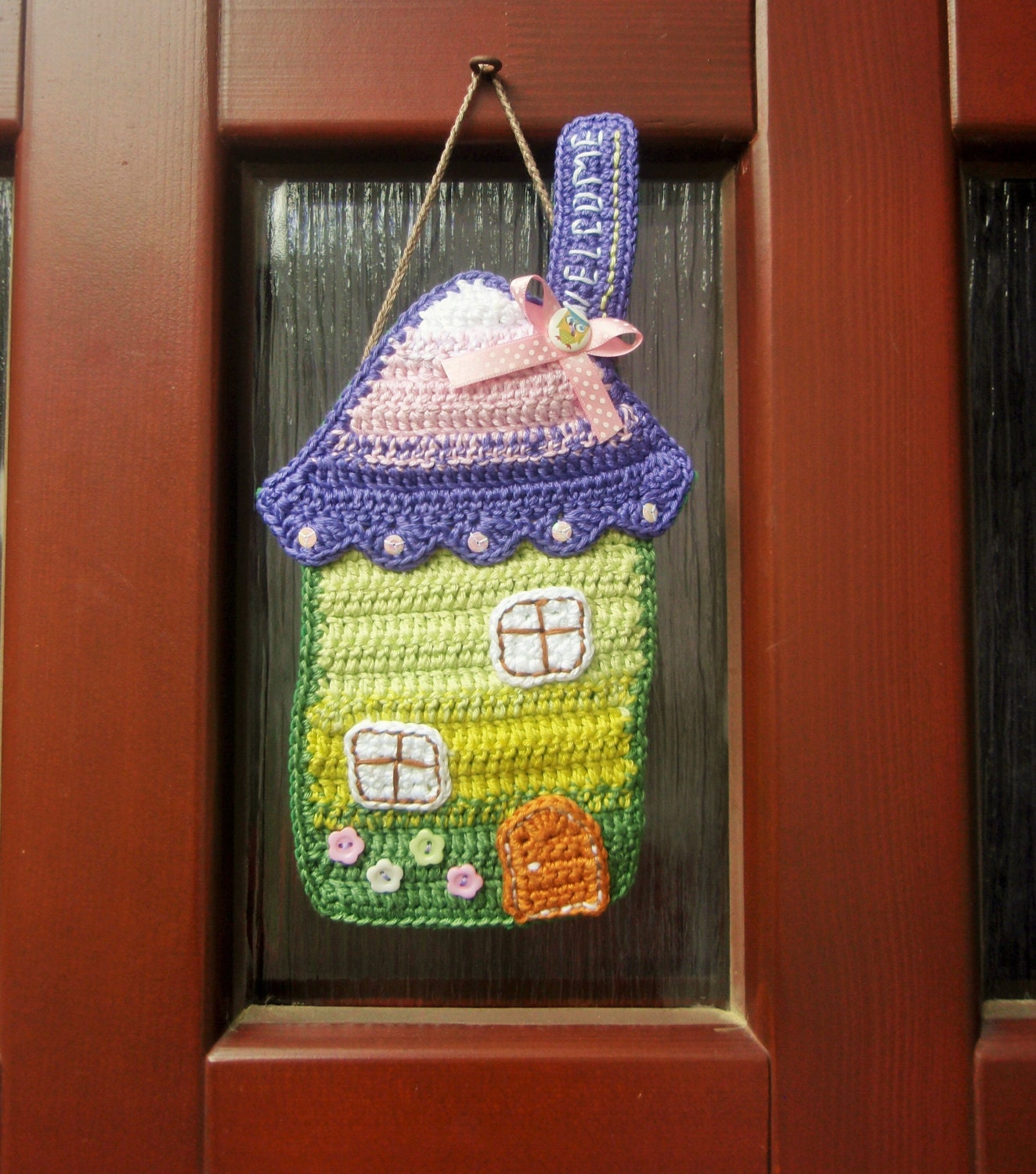 Crochet Pattern House The Door Hanger Ornament Crochet