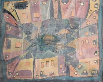 European abstract naivist oil painting cityscape