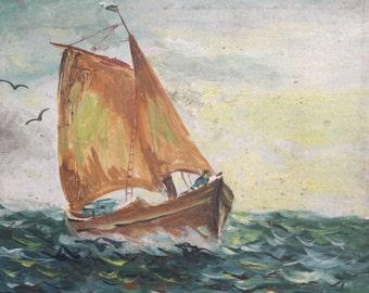 Antique oil painting seascape sailboat