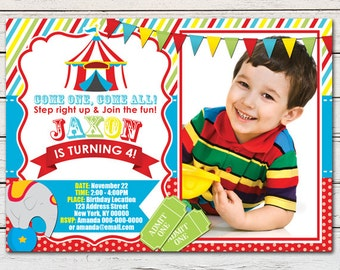 Circus Carnival Printable Birthday Photo Invitation - DIY - PDF & JPG Files only