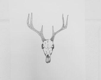 A5 Handmade Deer Dotwork Print