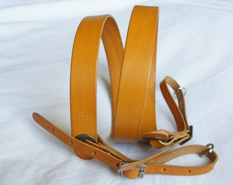 "handmade leather camera strap made in France Urban Cam ""The slasher yellow"""