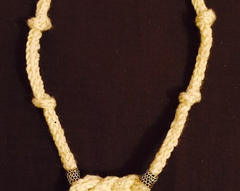 Celtic knot crochet icord necklace with silver bead details and button clasp
