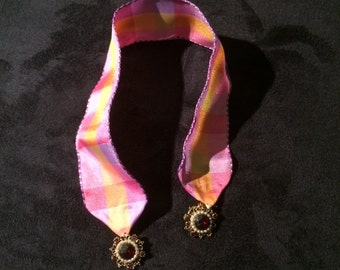 Pink/Purple/Yellow plaid ribbon bookmark