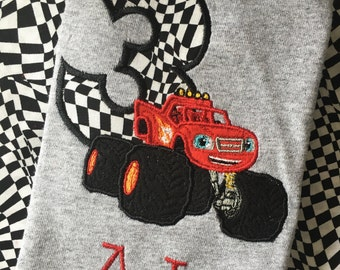 Blaze Birthday Shirt Blaze and the Monster Machines Truck Applique Birthday Shirt