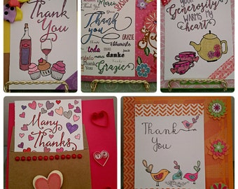 "Set of 5 ""Thank You"" cards, paper handmade cards, handmade cards"
