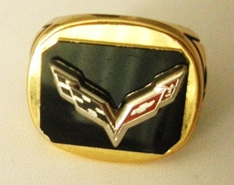 Corvette C7 18 Carat Gold Plated Ring