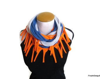 Orange Blue White Scarf Jersey Scarf Cotton Scarf Necklace Scarf Women Scarf Infinity Scarf Noodle Scarf Summer Scarf Tshirt Scarf Flordia