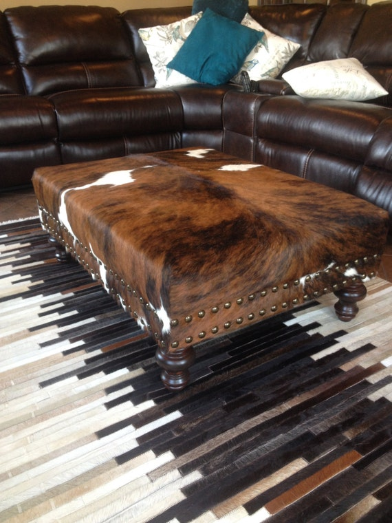 Custom Cowhide Ottoman Coffee Table Bench With Nail Head Trim