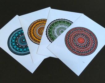 Seasons Mandala Collection set of four prints, gift pack, set set, art prints