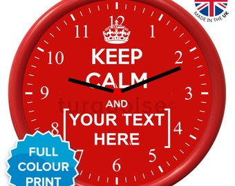 Personalised Keep Calm & Carry On Red Wall Clock | Round