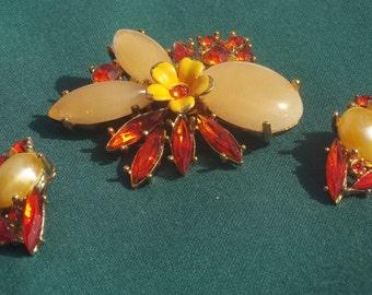Vintage Estate Flower Brooch & Earrings Jewelry Set