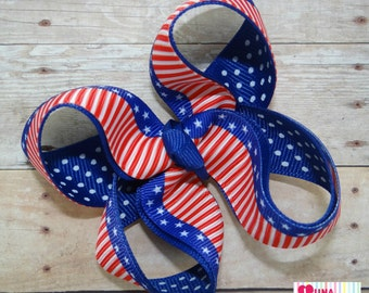 4th of july hair bow,american flag hair bow, independence day hair bow