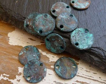 Patina Coin Connectors, Pack of 20, Mykonos Beads, Greek Metal