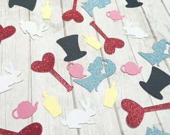 Alice in Wonderland confetti. Tea party confetti. Alice in Wonderland birthday. Alice in Wonderland party. Onederland Party. One-derland