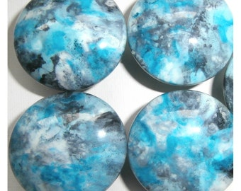 Custom made One of a Kind Furniture and Cabinet Knob-Turquoise Blue, Charcoal Grey, White and Aqua.