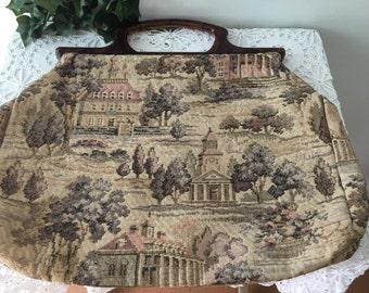 Vintage Tapestry Sewing Bag
