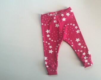 Beautiful Pink Star Leggings Handmade Boy Girl Baby Toddler Trousers Sizes 0-3 months - 2-3 years Handmade