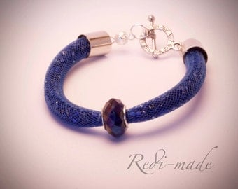 Bracelet - Stardust mesh with bugle beads and a decorative bead (#259501)