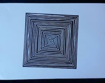 Black Squares Lino Print