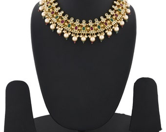 Alyza Pearls trendy multi colour necklace with red filigiri works