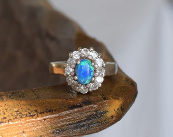 Lab Created Opal Gemstone Silver 925 Ring, US Size 5.5, Used