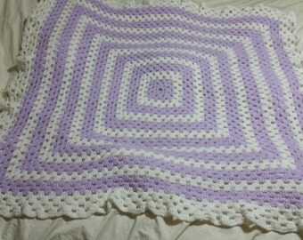 Purple & White Striped Granny Square Baby Afghan