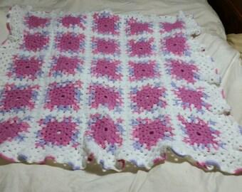 Lovely White, Pink, & Purple Baby Blanket