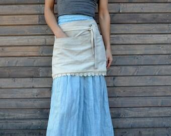 Linen Apron, Linen Half Apron, Cafe, Wrap Apron. handmade linen apron with lace