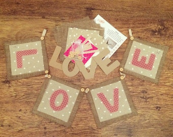 LOVE bunting kit, bunting kit, make your own bunting, burlap bunting, rustic bunting, applique bunting kit, sewing kit, LOVE bunting