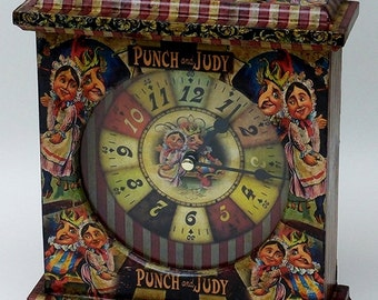 Punch and Judy Clock, hand decorated. Unique Clock. Punch and Judy. Carriage Clock. Mantel Clock.