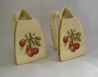 Pair of Vintage Iron Planters Cherry Pattern