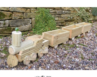 Wooden Train Planter for the Garden