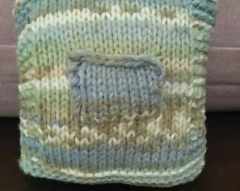 SALE Hand-knitted Tooth-Fairy Pillow with Sailboat motif and built in pocket.