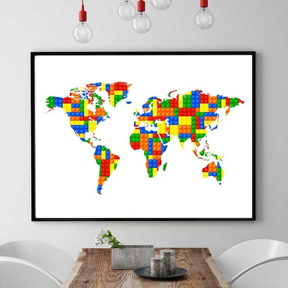 Lego world map print lego inspired art world map decor lego lego world map print lego inspired art world map decor lego nursery kids decor instant download map playroom lego map gumiabroncs Image collections