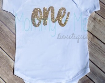 First Birthday Bodysuit - One Birthday Outfit - Gold Birthday