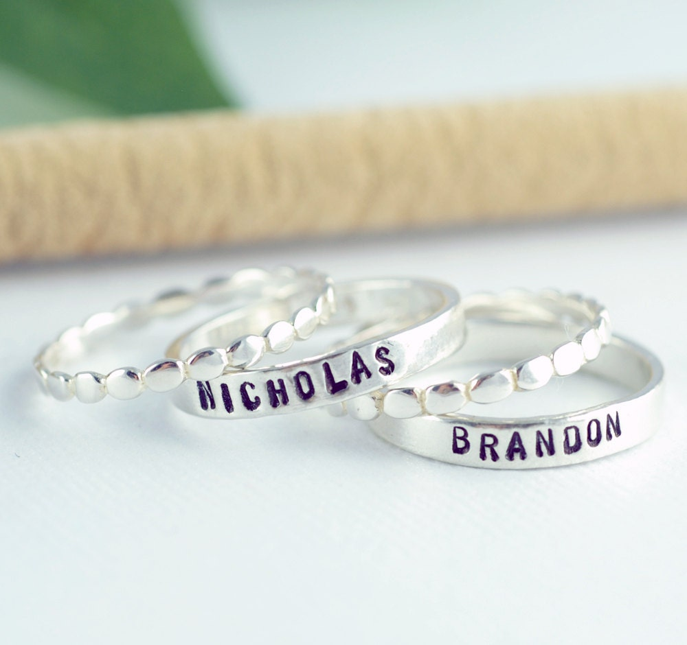 personalized ring personalized stackable mothers ring. Black Bedroom Furniture Sets. Home Design Ideas