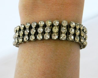 50s Rhinestone Expansion Bracelet, Rhinestone Stretch Bracelet, Expansion Bracelet, Vintage 50s Bracelet, Mid Century, Mod, Retro, Bride