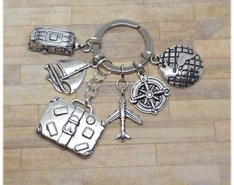 Travel Keyring, Travelling, World Keychain, Compass, Boat, Aeroplane, Caravan, Suitcase, Travel Bag Charm, Travel Keychain, Personalised,