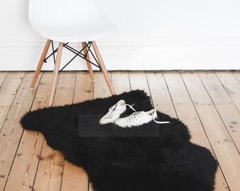 Black Sheepskin Rug & Throw / Deep pile / The Eivi