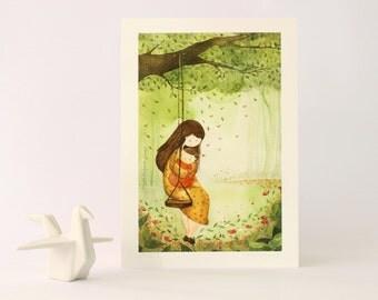 Swing / Print / Illustration / Garden/ Maternity