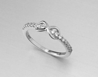 Sterling Silver Infinity CZ Band Toe Ring, Midi Ring, Pinky Ring, Knuckle Ring