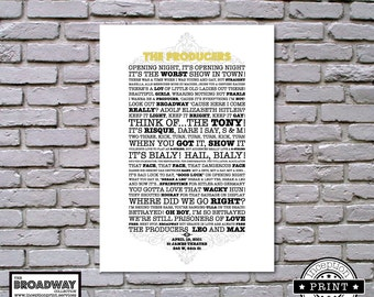 The Producers - Unframed - Quotes - Lyrics - Typography Print