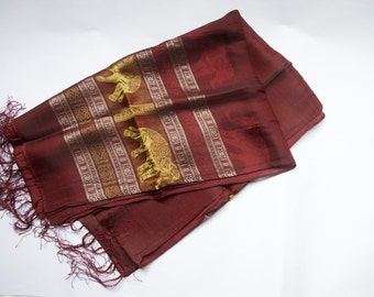Female red wine-patterned pashmina 014